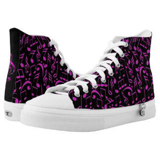 Hot Pink Music Notes on Black High Top Shoes Printed Shoes