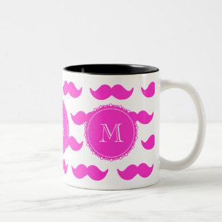 Hot Pink Mustache Pattern, Hot Pink White Monogram Two-Tone Mug