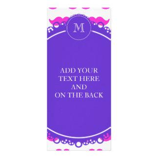Hot Pink Mustache Pattern, Purple White Monogram 10 Cm X 23 Cm Rack Card