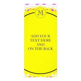 Hot Pink Mustache Pattern, Yellow Black Monogram Personalized Rack Card