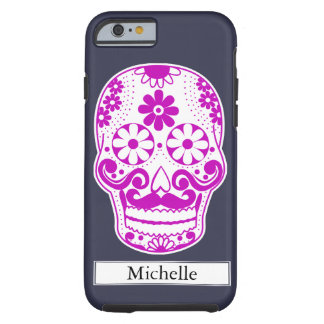 Hot Pink Mustached Sugar Skull Custom Name Tough iPhone 6 Case