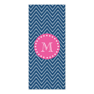 Hot Pink, Navy Blue Chevron | Your Monogram 10 Cm X 24 Cm Invitation Card