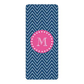 Hot Pink, Navy Blue Chevron   Your Monogram 4x9.25 Paper Invitation Card