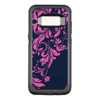 Hot Pink & Navy Blue Floral Lace Glitter Texture OtterBox Commuter Samsung Galaxy S8 Case