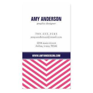 Hot Pink & Navy Blue Modern Chevron Stripes Business Card