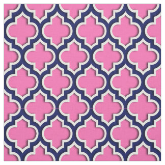 Hot Pink, Navy Blue Moroccan Quatrefoil #5DS Fabric