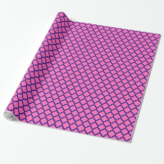 Hot Pink, Navy Blue Moroccan Quatrefoil Pattern #5 Wrapping Paper