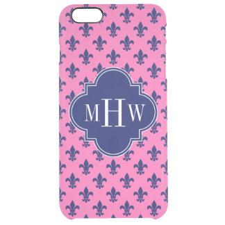 Hot Pink Navy Fleur de Lis Navy 3 Init Monogram Clear iPhone 6 Plus Case