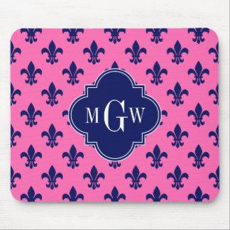 Hot Pink Navy Fleur de Lis Navy 3 Init Monogram Mouse Pad