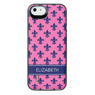 Hot Pink Navy Fleur de Lis Navy Name Monogram iPhone SE/5/5s Battery Case