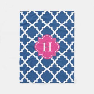 Hot Pink & Navy Monogram | Fleece Blanket