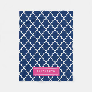 Hot Pink & Navy Quatrefoil | Fleece Blanket