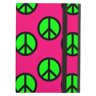 Hot Pink Neon Green Peace Sign Hippie Pattern iPad Air Cover