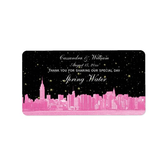 Hot Pink NYC Wide Starry Skyline Etch Water Bottle Address Label