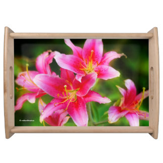 Hot Pink Olympic Torch Lilies Serving Tray