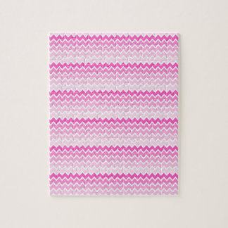 Hot Pink Ombre Chevron Zigzag Pattern Jigsaw Puzzle