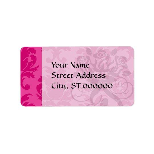 hot pink on pink chic damask pattern address label