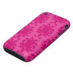 hot pink on pink chic damask pattern iPhone 3 tough case