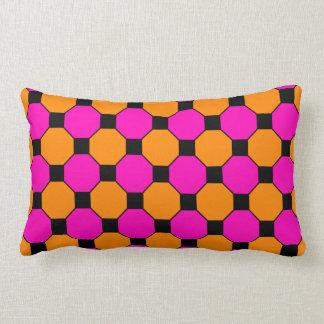 Hot Pink Orange Black Squares Hexagons Patterns Lumbar Cushion