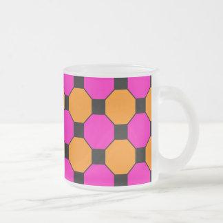 Hot Pink Orange Black Squares Hexagons Patterns Coffee Mugs
