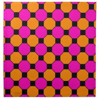 Hot Pink Orange Black Squares Hexagons Patterns Printed Napkins