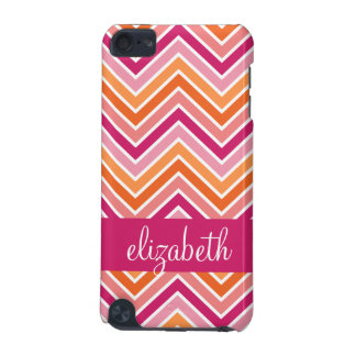 Hot Pink & Orange Chevron Pattern and Name iPod Touch 5G Cover