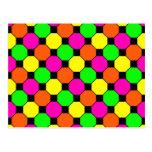 Hot Pink Orange Green Black Squares Hexagons Postcards