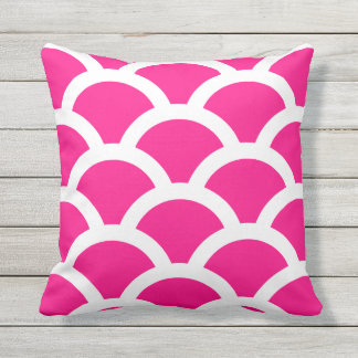 Hot Pink Outdoor Pillows - Circles Pattern