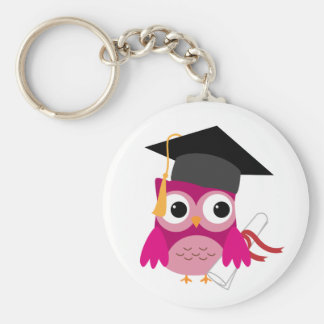 Hot Pink Owl with Diploma Graduation Keychain