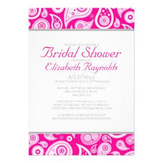 Hot Pink Paisley Bridal Shower Invitations Invites