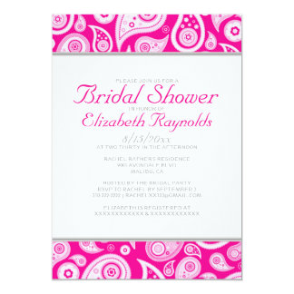 Hot Pink Paisley Bridal Shower Invitations