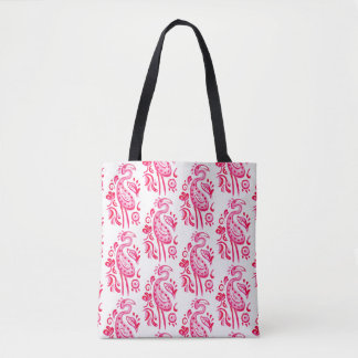 Hot Pink Paisley Flamingo Tote Bag