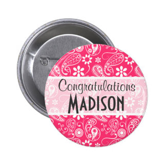 Hot Pink Paisley Floral Pinback Buttons