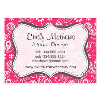Hot Pink Paisley; Floral Large Business Cards (Pack Of 100)