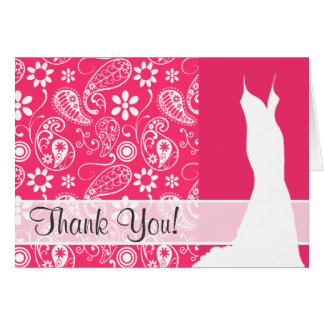 Hot Pink Paisley; Floral Note Card