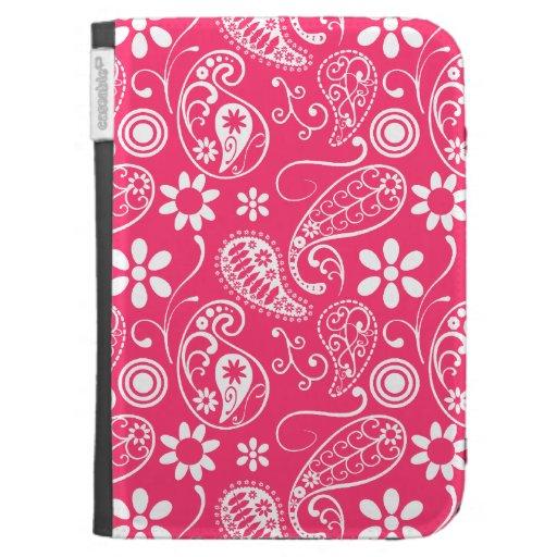 Hot Pink Paisley; Floral Kindle Folio Case