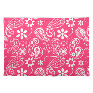 Hot Pink Paisley; Floral Placemats
