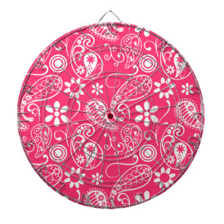 Hot Pink Paisley; Floral Dart Boards