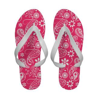 Hot Pink Paisley; Floral Flip Flops