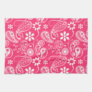 Hot Pink Paisley; Floral Hand Towel