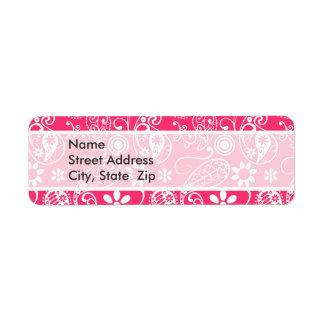 Hot Pink Paisley; Floral Return Address Label