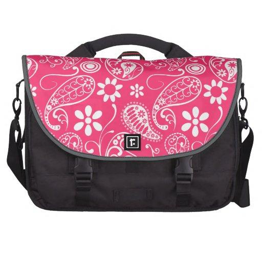Hot Pink Paisley; Floral Laptop Messenger Bag