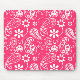 Hot Pink Paisley; Floral Mouse Pad