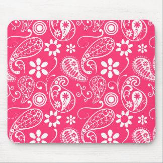 Hot Pink Paisley Floral Mousepad