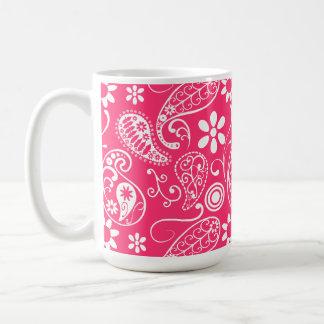 Hot Pink Paisley Floral Mug