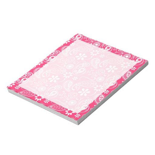 Hot Pink Paisley; Floral Memo Notepad
