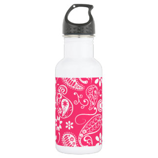 Hot Pink Paisley; Floral 532 Ml Water Bottle