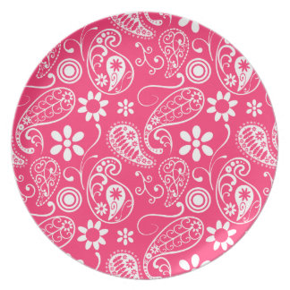 Hot Pink Paisley; Floral Party Plates