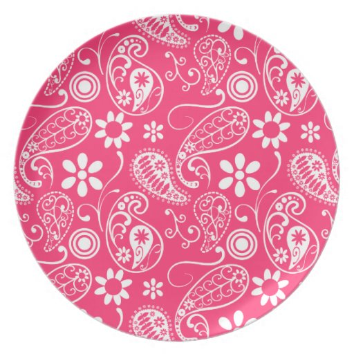 Hot Pink Paisley; Floral Dinner Plate