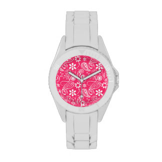 Hot Pink Paisley; Floral Wristwatch